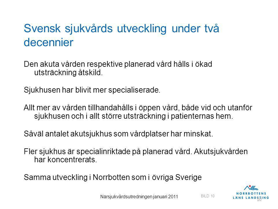 BILD 10 Närsjukvårdsutredningen januari 2011 10 Svensk sjukvårds utveckling under två decennier Den akuta vården respektive planerad vård hålls i ökad utsträckning åtskild.