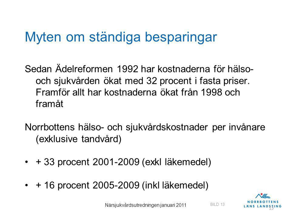 BILD 13 Närsjukvårdsutredningen januari 2011 13 Myten om ständiga besparingar Sedan Ädelreformen 1992 har kostnaderna för hälso- och sjukvården ökat med 32 procent i fasta priser.