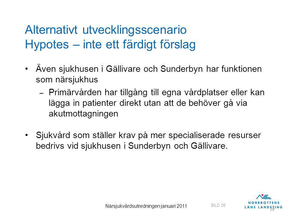 BILD 28 Närsjukvårdsutredningen januari 2011 28 Alternativt utvecklingsscenario Hypotes – inte ett färdigt förslag Även sjukhusen i Gällivare och Sund