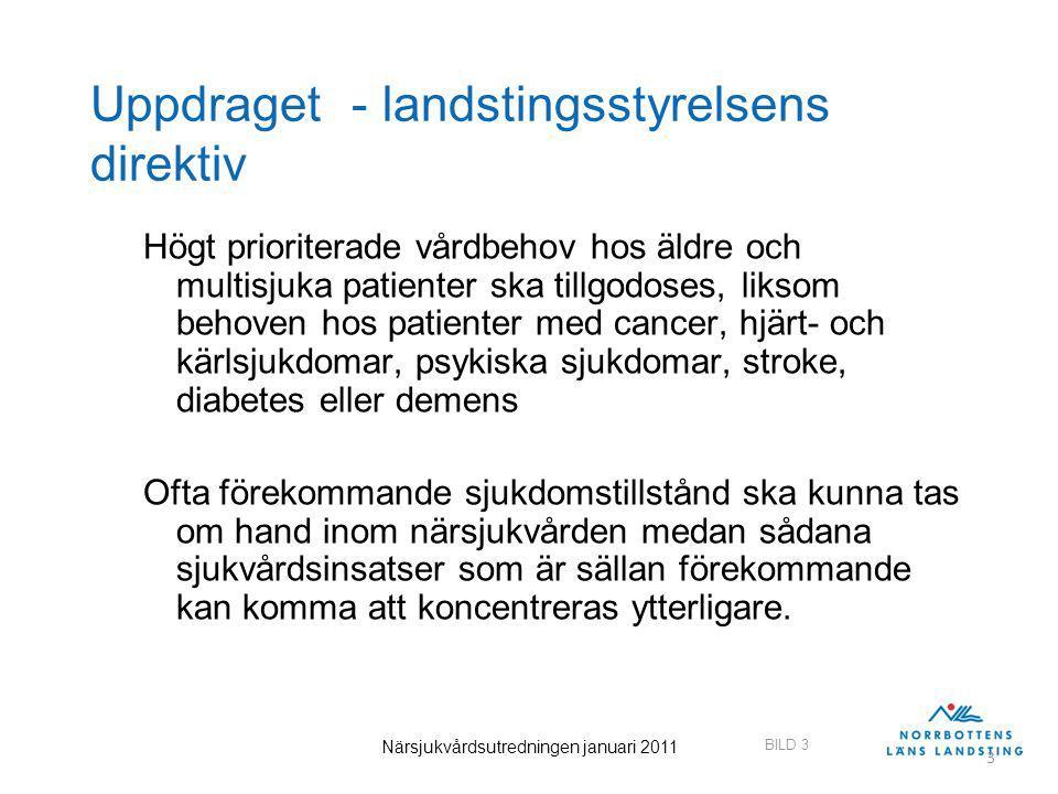 BILD 3 Närsjukvårdsutredningen januari 2011 3 Uppdraget - landstingsstyrelsens direktiv Högt prioriterade vårdbehov hos äldre och multisjuka patienter