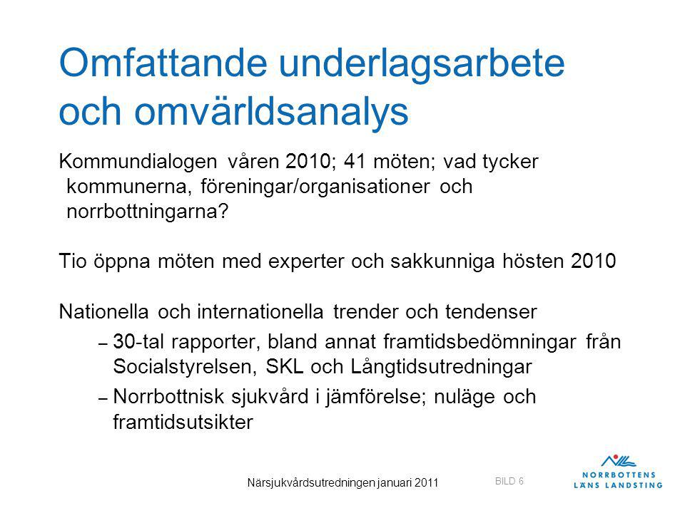 BILD 27 Närsjukvårdsutredningen januari 2011 27 Alternativt utvecklingsscenario Hypotes – inte ett färdigt förslag Så här ser vården i stora drag ut år 2020 enligt scenariot Patienter och resurser - inklusive läkartjänster – har omfördelats från sjukhusvård till primärvård (vårdcentraler) Det finns fortfarande fem sjukhus i Norrbotten Sjukhusen i Kalix, Kiruna och Piteå är närsjukhus med vårdplatser för akut och planerad vård för patienter som i första hand kan behandlas av specialister i allmänmedicin