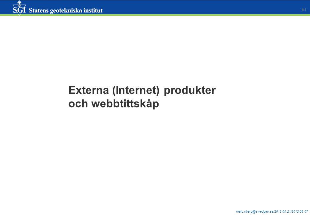 mats.oberg@swedgeo.se/2012-05-21/2012-06-07 11 Externa (Internet) produkter och webbtittskåp