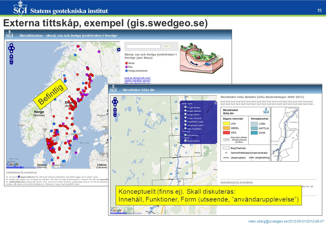 mats.oberg@swedgeo.se/2012-05-21/2012-06-07 15 Externa tittskåp, exempel (gis.swedgeo.se) Befintlig Konceptuellt (finns ej). Skall diskuteras: Innehål