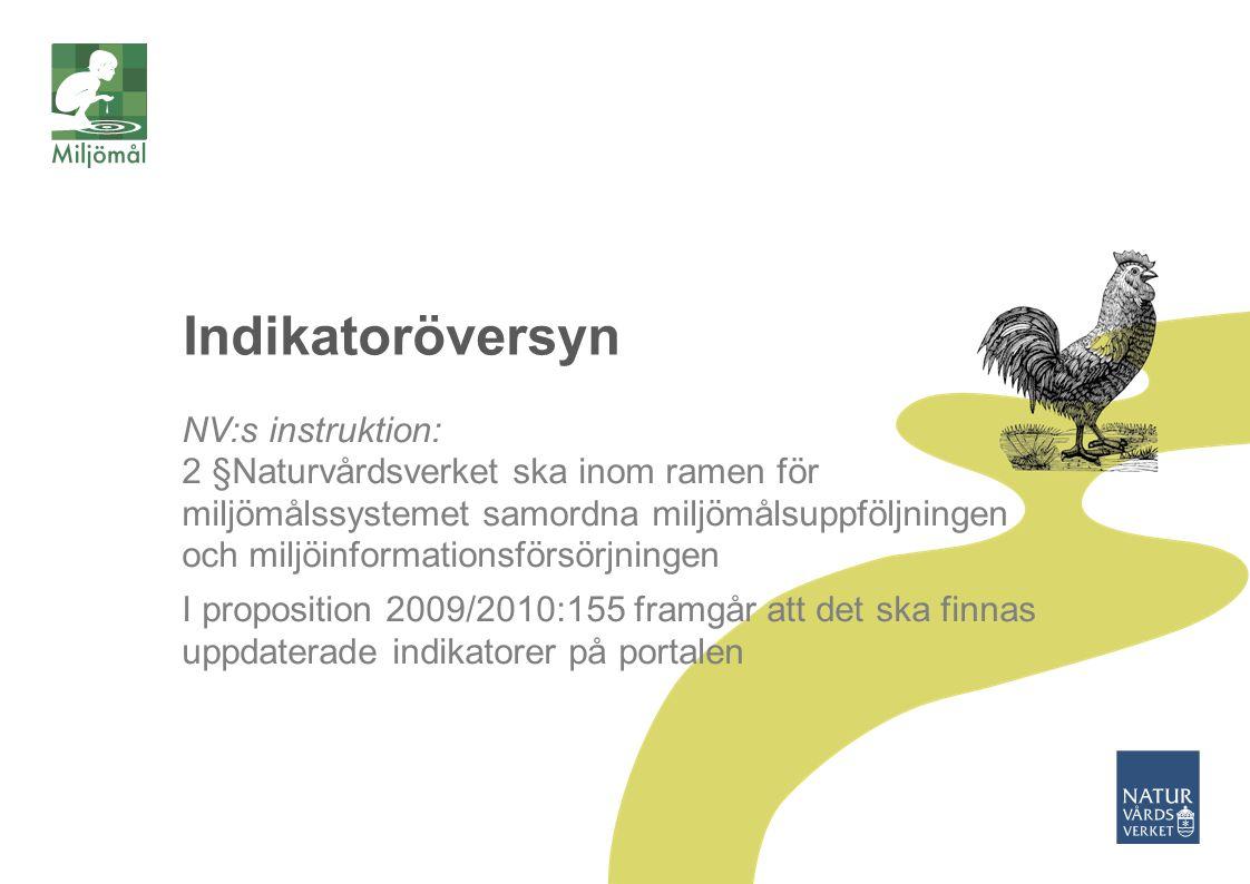 Indikatoröversyn NV:s instruktion: 2 §Naturvårdsverket ska inom ramen för miljömålssystemet samordna miljömålsuppföljningen och miljöinformationsförsö