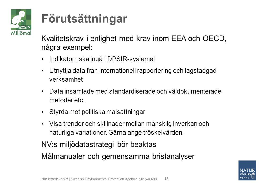 2015-03-30 Naturvårdsverket | Swedish Environmental Protection Agency 13 Kvalitetskrav i enlighet med krav inom EEA och OECD, några exempel: Indikator