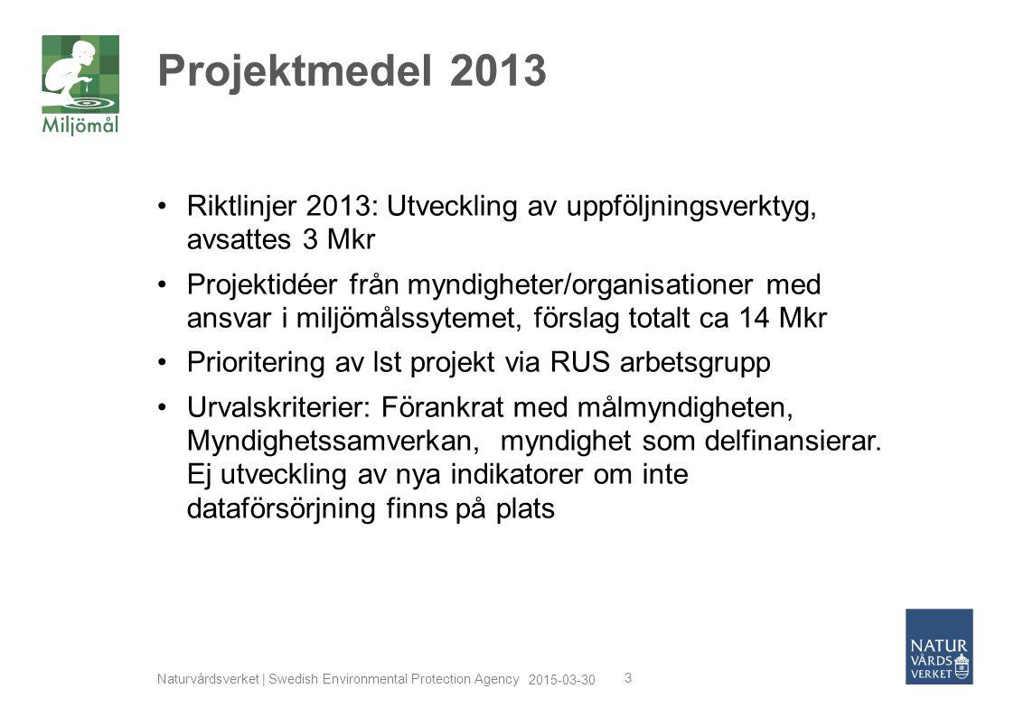 2015-03-30 Naturvårdsverket | Swedish Environmental Protection Agency 3 Riktlinjer 2013: Utveckling av uppföljningsverktyg, avsattes 3 Mkr Projektidée