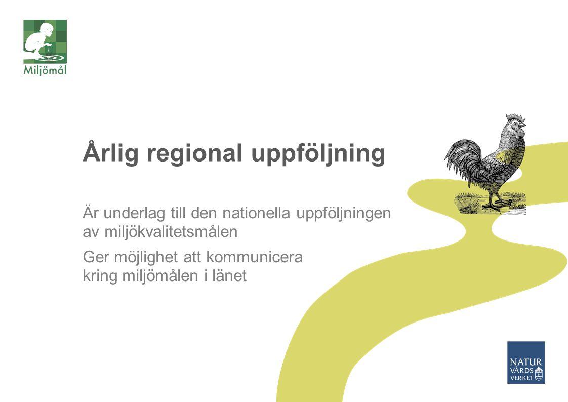 Årlig regional uppföljning Är underlag till den nationella uppföljningen av miljökvalitetsmålen Ger möjlighet att kommunicera kring miljömålen i länet