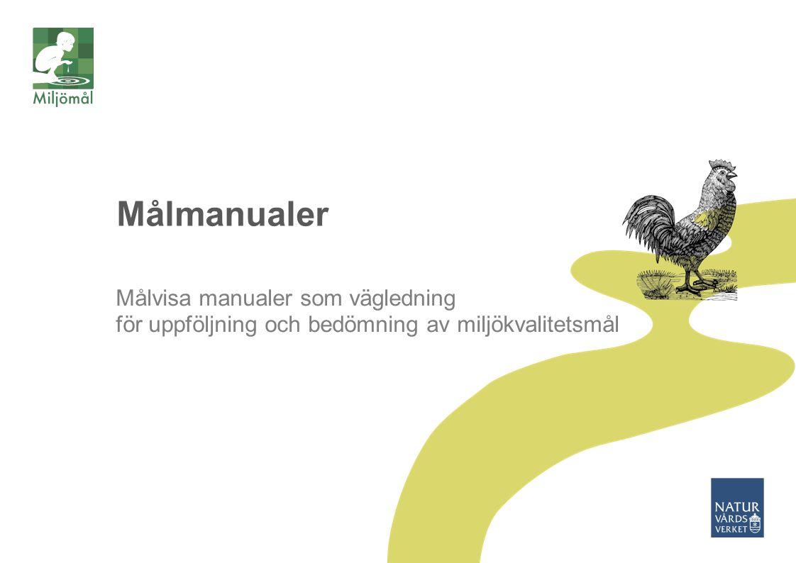 2015-03-30 Naturvårdsverket | Swedish Environmental Protection Agency 9 Vad ska följas upp och bedömas Hur uppföljning ska ske Hur uppföljning ska presenteras När uppföljning ska ske Ansvar för uppföljningen Regionala anpassningar Målmanualer