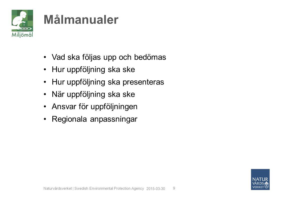 2015-03-30 Naturvårdsverket | Swedish Environmental Protection Agency 9 Vad ska följas upp och bedömas Hur uppföljning ska ske Hur uppföljning ska pre