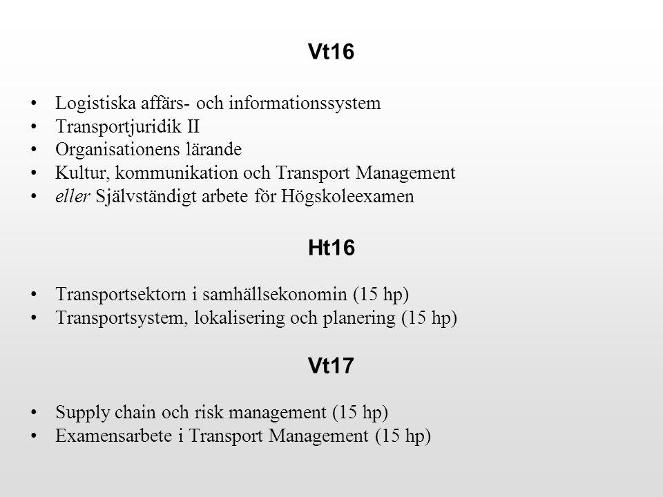 Vt16 Logistiska affärs- och informationssystem Transportjuridik II Organisationens lärande Kultur, kommunikation och Transport Management eller Självständigt arbete för Högskoleexamen Ht16 Transportsektorn i samhällsekonomin (15 hp) Transportsystem, lokalisering och planering (15 hp) Vt17 Supply chain och risk management (15 hp) Examensarbete i Transport Management (15 hp)