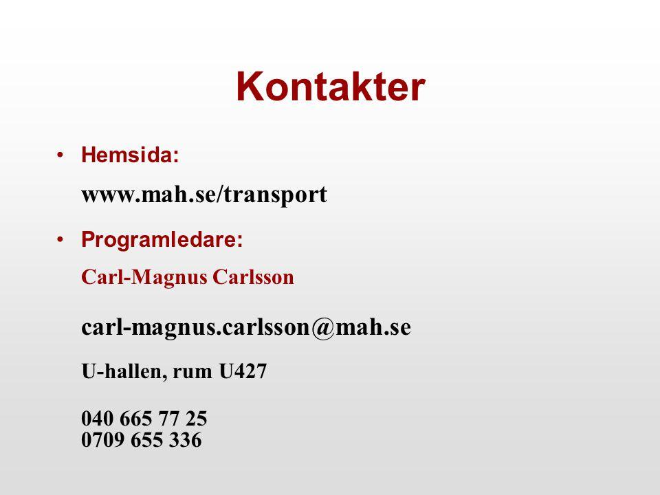 Kontakter Hemsida: www.mah.se/transport Programledare: Carl-Magnus Carlsson carl-magnus.carlsson@mah.se U-hallen, rum U427 040 665 77 25 0709 655 336