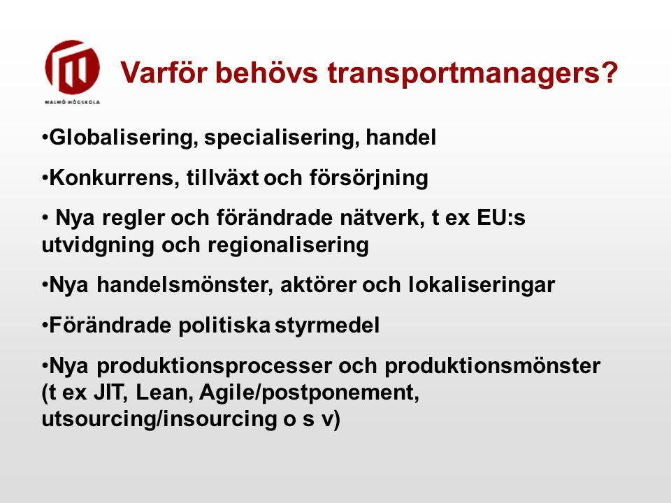 Varför behövs transportmanagers? Globalisering, specialisering, handel Konkurrens, tillväxt och försörjning Nya regler och förändrade nätverk, t ex EU