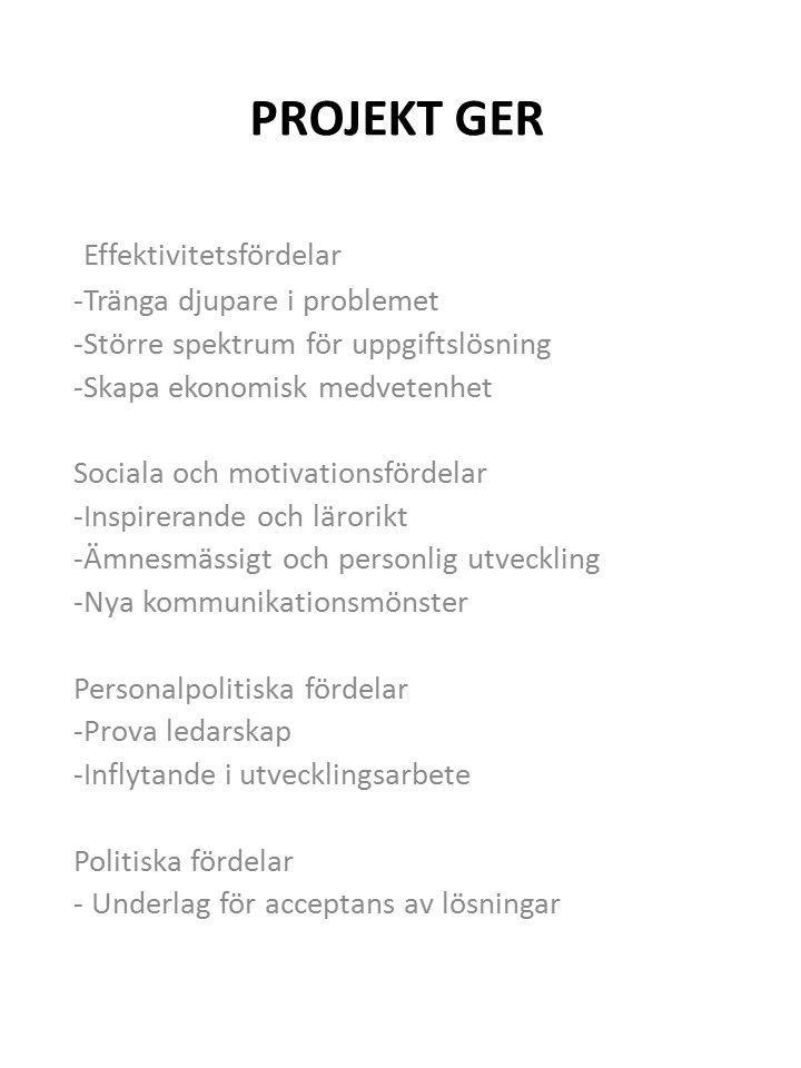 PROJEKT GER Effektivitetsfördelar -Tränga djupare i problemet -Större spektrum för uppgiftslösning -Skapa ekonomisk medvetenhet Sociala och motivationsfördelar -Inspirerande och lärorikt -Ämnesmässigt och personlig utveckling -Nya kommunikationsmönster Personalpolitiska fördelar -Prova ledarskap -Inflytande i utvecklingsarbete Politiska fördelar - Underlag för acceptans av lösningar