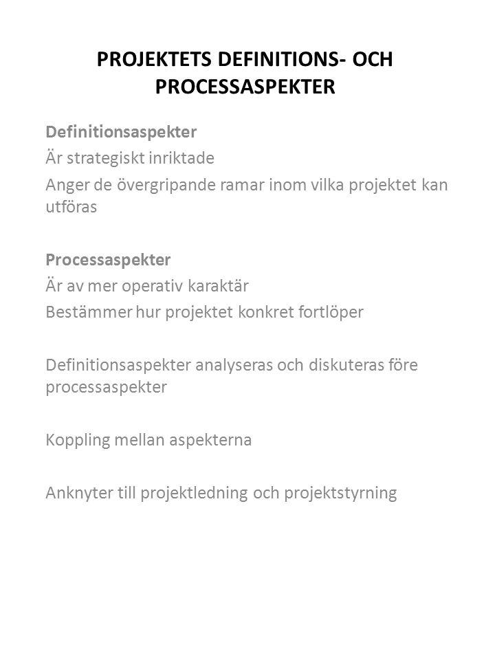 PROJEKTETS DEFINITIONS- OCH PROCESSASPEKTER Definitionsaspekter Är strategiskt inriktade Anger de övergripande ramar inom vilka projektet kan utföras Processaspekter Är av mer operativ karaktär Bestämmer hur projektet konkret fortlöper Definitionsaspekter analyseras och diskuteras före processaspekter Koppling mellan aspekterna Anknyter till projektledning och projektstyrning