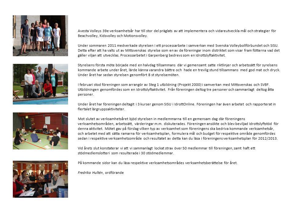 Avesta Volleys 39e verksamhetsår har till stor del präglats av att implementera och vidareutveckla mål och strategier för Beachvolley, Kidsvolley och