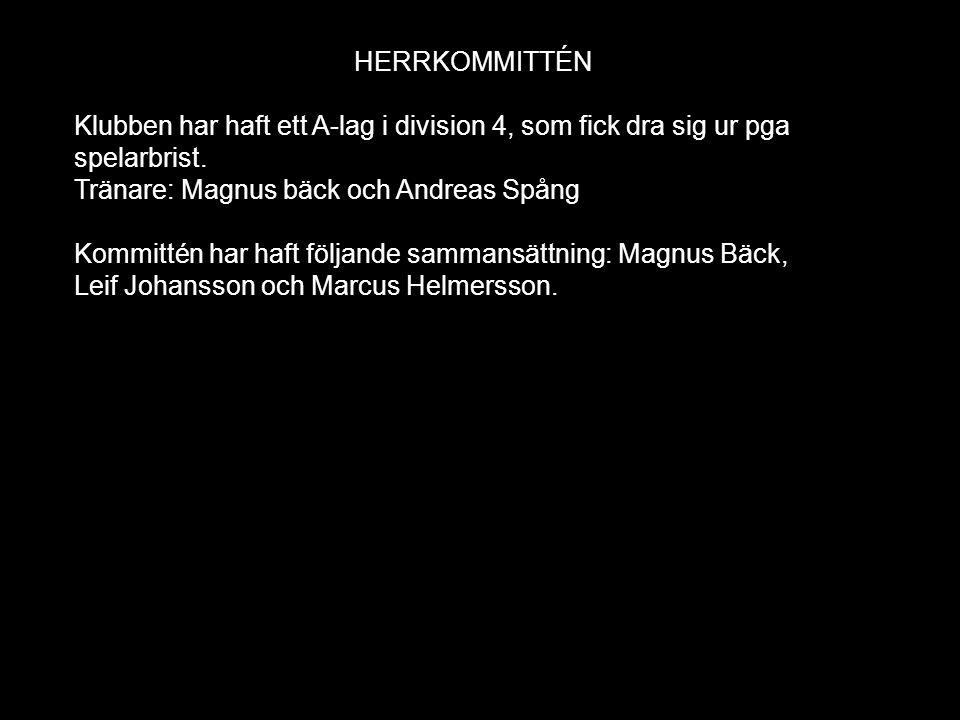 HERRKOMMITTÉN Klubben har haft ett A-lag i division 4, som fick dra sig ur pga spelarbrist. Tränare: Magnus bäck och Andreas Spång Kommittén har haft