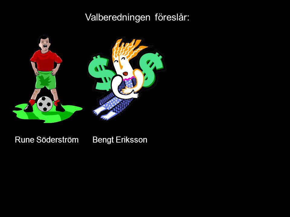 Valberedningen föreslår: Bengt ErikssonRune Söderström
