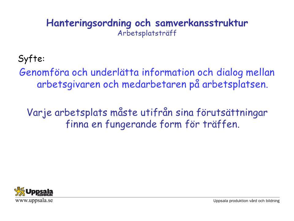 Hanteringsordning och samverkansstruktur Arbetsplatsträff Syfte: Genomföra och underlätta information och dialog mellan arbetsgivaren och medarbetaren på arbetsplatsen.