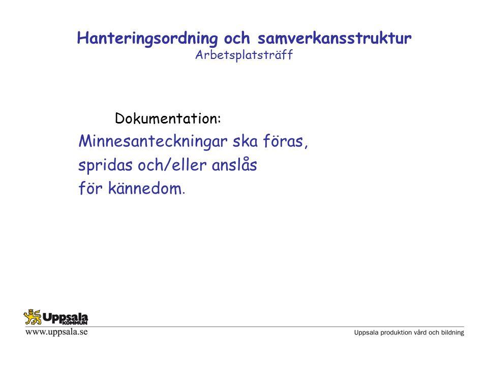 Hanteringsordning och samverkansstruktur Arbetsplatsträff Dokumentation: Minnesanteckningar ska föras, spridas och/eller anslås för kännedom.
