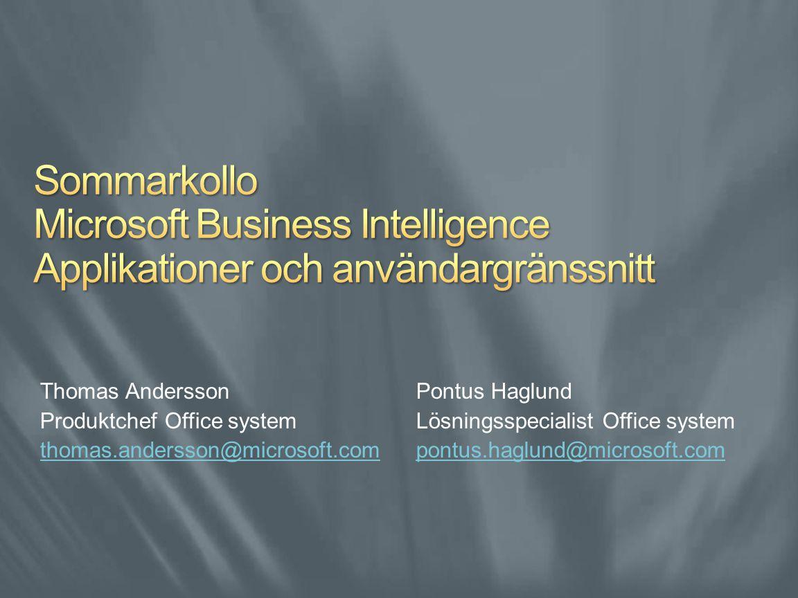 Pontus Haglund Lösningsspecialist Office system pontus.haglund@microsoft.com Thomas Andersson Produktchef Office system thomas.andersson@microsoft.com