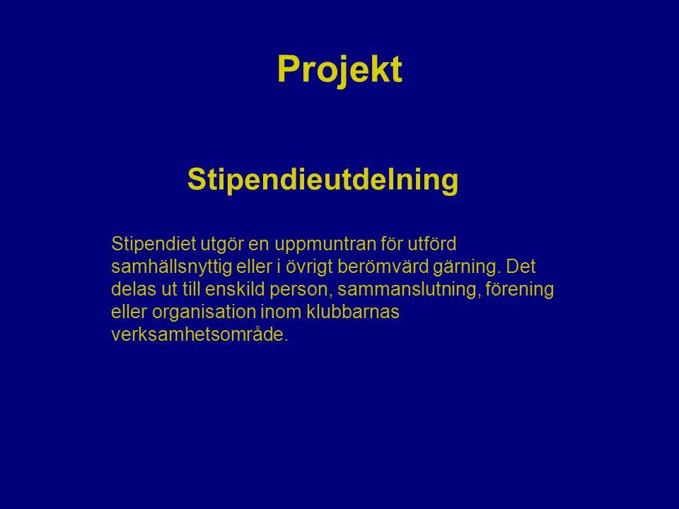 Projekt Stipendieutdelning Stipendiet utgör en uppmuntran för utförd samhällsnyttig eller i övrigt berömvärd gärning. Det delas ut till enskild person