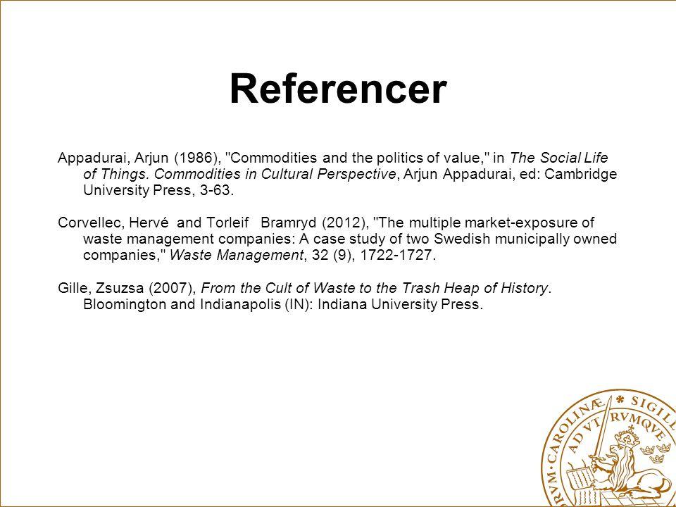 Referencer Appadurai, Arjun (1986),