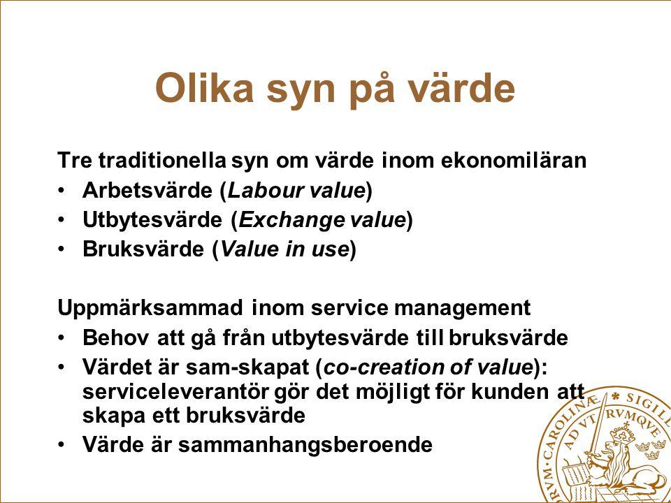 Olika syn på värde Tre traditionella syn om värde inom ekonomiläran Arbetsvärde (Labour value) Utbytesvärde (Exchange value) Bruksvärde (Value in use)