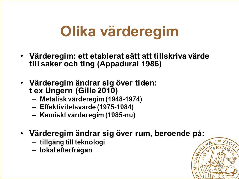 Olika värderegim Värderegim: ett etablerat sätt att tillskriva värde till saker och ting (Appadurai 1986) Värderegim ändrar sig över tiden: t ex Unger