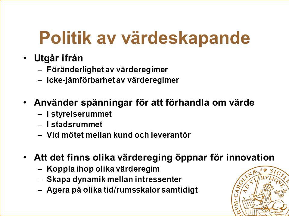 Politik av värdeskapande Utgår ifrån –Föränderlighet av värderegimer –Icke-jämförbarhet av värderegimer Använder spänningar för att förhandla om värde
