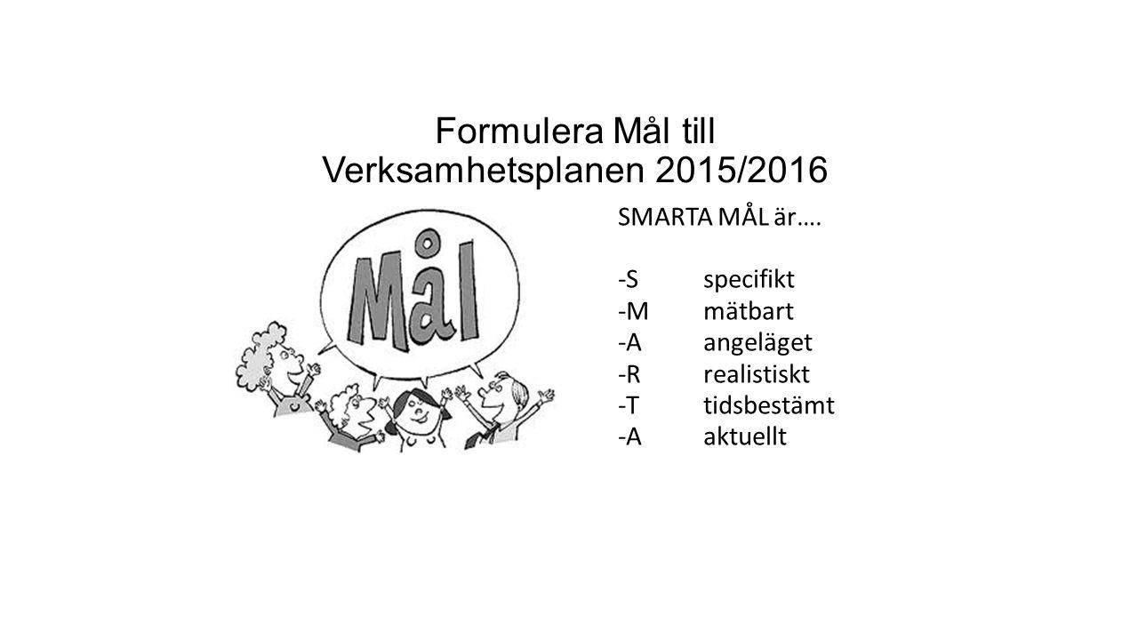Formulera Mål till Verksamhetsplanen 2015/2016 SMARTA MÅL är…. -Sspecifikt -Mmätbart -Aangeläget -Rrealistiskt -Ttidsbestämt -Aaktuellt