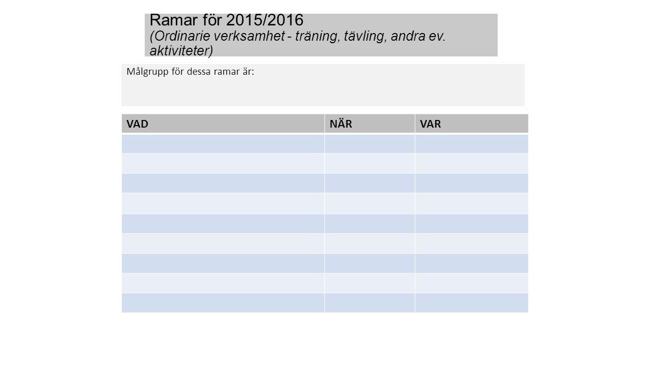 Ramar för 2015/2016 (Ordinarie verksamhet - träning, tävling, andra ev. aktiviteter) Målgrupp för dessa ramar är: VADNÄRVAR