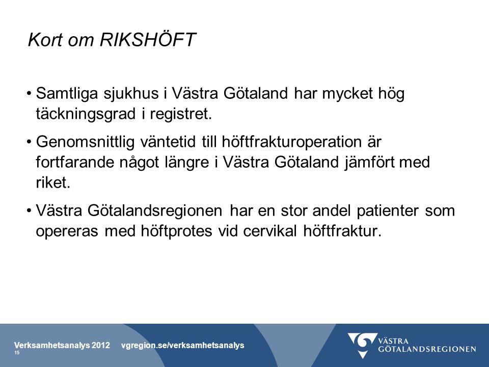 Kort om RIKSHÖFT Samtliga sjukhus i Västra Götaland har mycket hög täckningsgrad i registret.