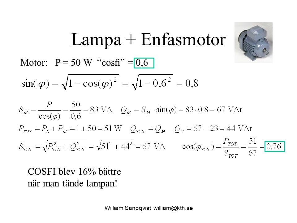 """Lampa + Enfasmotor Motor: P = 50 W """"cosfi"""" = 0,6 COSFI blev 16% bättre när man tände lampan! William Sandqvist william@kth.se"""