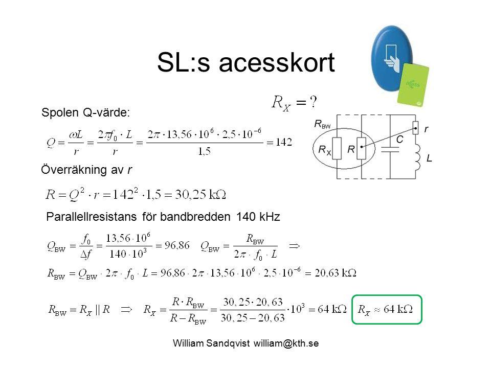 William Sandqvist william@kth.se SL:s acesskort Spolen Q-värde: Överräkning av r Parallellresistans för bandbredden 140 kHz