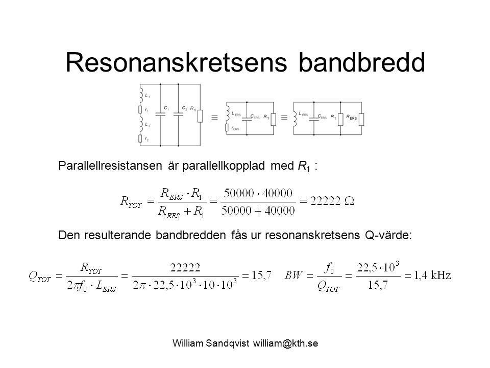 William Sandqvist william@kth.se Resonanskretsens bandbredd Parallellresistansen är parallellkopplad med R 1 : Den resulterande bandbredden fås ur res