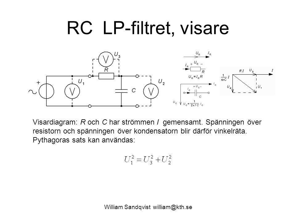 RC LP-filtret, visare Visardiagram: R och C har strömmen I gemensamt. Spänningen över resistorn och spänningen över kondensatorn blir därför vinkelrät