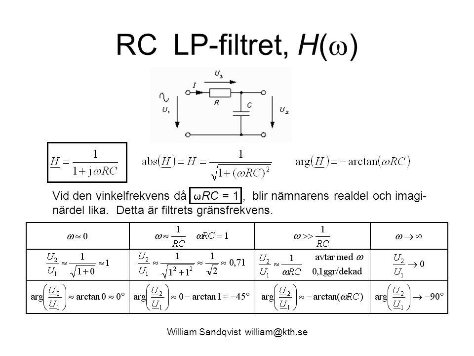 William Sandqvist william@kth.se RC LP-filtret, H(  ) Vid den vinkelfrekvens då  RC = 1, blir nämnarens realdel och imagi- närdel lika. Detta är fil
