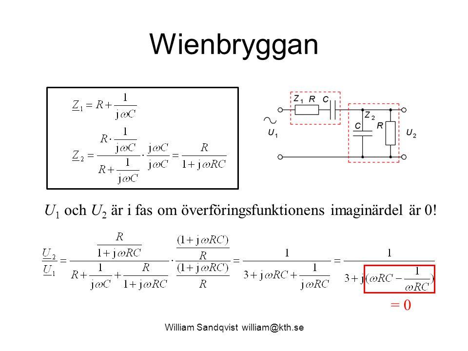 William Sandqvist william@kth.se Wienbryggan U 1 och U 2 är i fas om överföringsfunktionens imaginärdel är 0! = 0