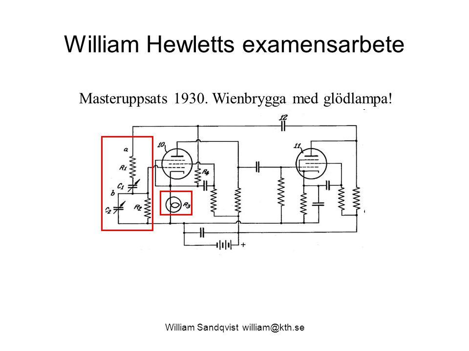 William Sandqvist william@kth.se William Hewletts examensarbete Masteruppsats 1930. Wienbrygga med glödlampa!