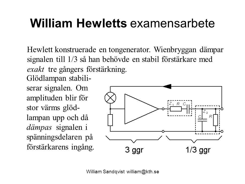 William Sandqvist william@kth.se William Hewletts examensarbete Hewlett konstruerade en tongenerator. Wienbryggan dämpar signalen till 1/3 så han behö