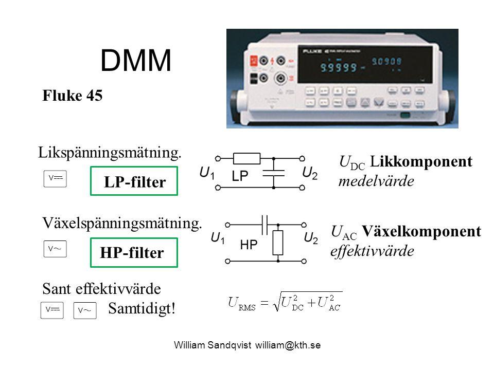 DMM Likspänningsmätning. LP-filter U DC Likkomponent medelvärde Växelspänningsmätning. HP-filter U AC Växelkomponent effektivvärde Sant effektivvärde