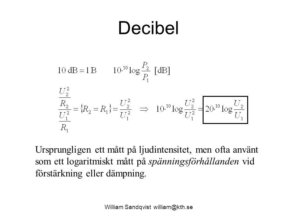 Decibel Ursprungligen ett mått på ljudintensitet, men ofta använt som ett logaritmiskt mått på spänningsförhållanden vid förstärkning eller dämpning.