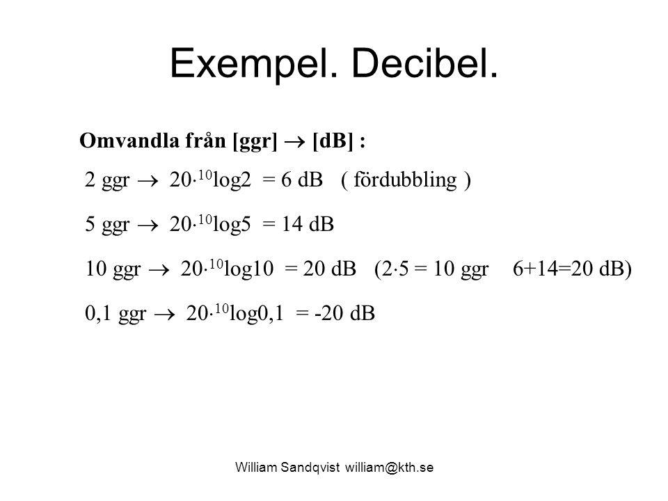 William Sandqvist william@kth.se Exempel. Decibel. Omvandla från [ggr]  [dB] : 2 ggr  20  10 log2 = 6 dB ( fördubbling ) 5 ggr  20  10 log5 = 14