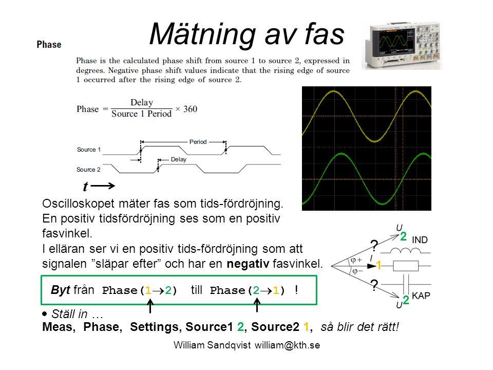 William Sandqvist william@kth.se Mätning av fas Oscilloskopet mäter fas som tids-fördröjning. En positiv tidsfördröjning ses som en positiv fasvinkel.