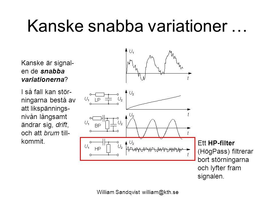 William Sandqvist william@kth.se Kanske snabba variationer … Kanske är signal- en de snabba variationerna? I så fall kan stör- ningarna bestå av att l