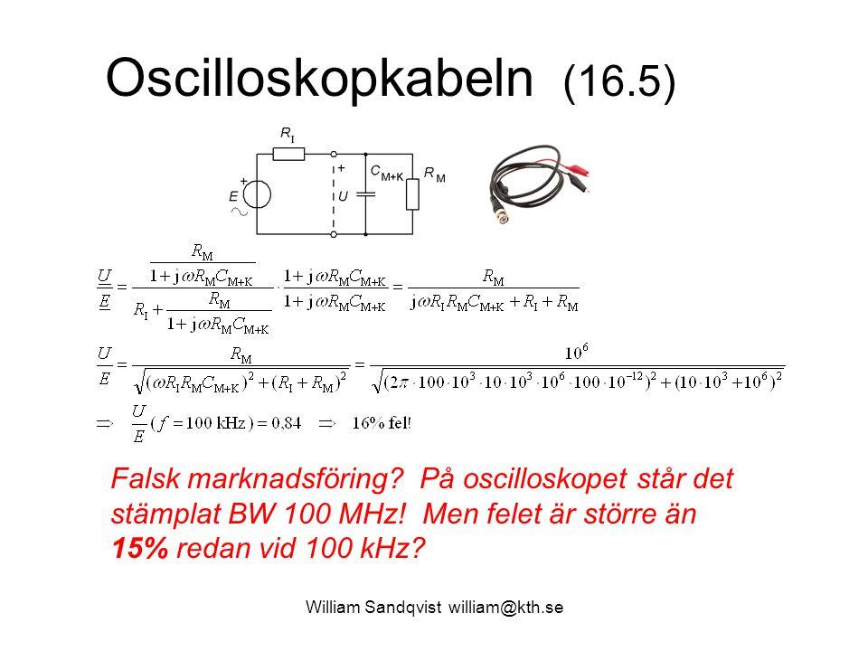 William Sandqvist william@kth.se Oscilloskopkabeln (16.5) Falsk marknadsföring? På oscilloskopet står det stämplat BW 100 MHz! Men felet är större än