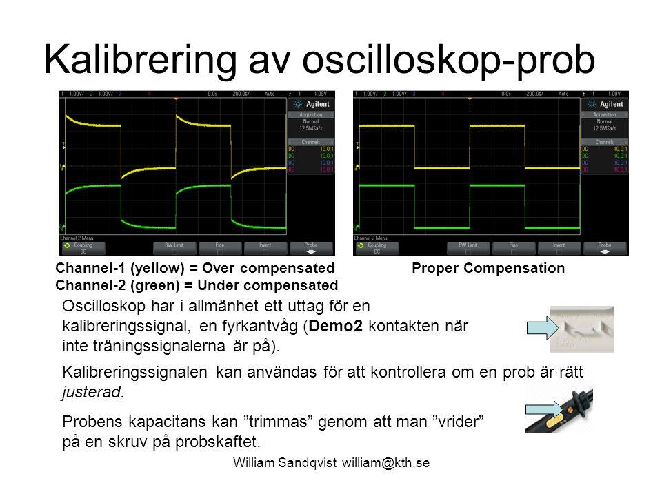 William Sandqvist william@kth.se Kalibrering av oscilloskop-prob Oscilloskop har i allmänhet ett uttag för en kalibreringssignal, en fyrkantvåg (Demo2
