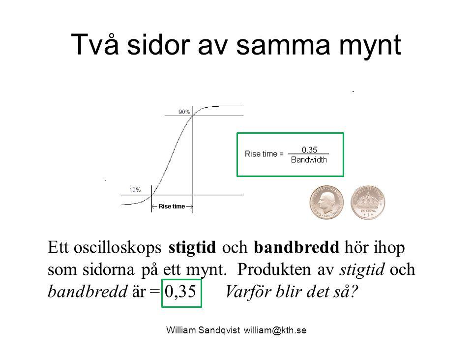 William Sandqvist william@kth.se Två sidor av samma mynt Ett oscilloskops stigtid och bandbredd hör ihop som sidorna på ett mynt. Produkten av stigtid