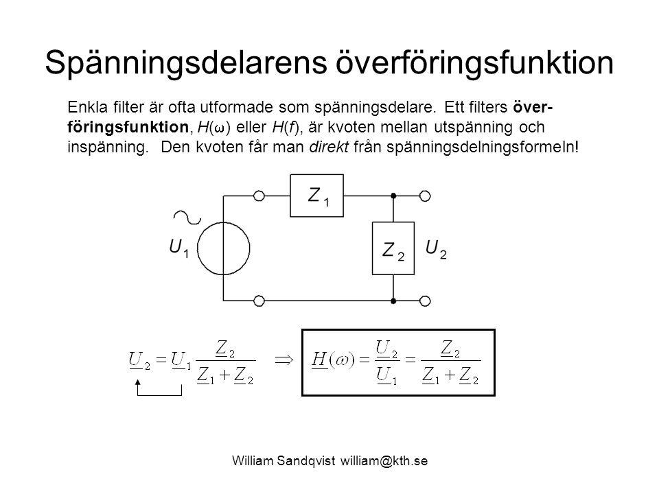 Spänningsdelarens överföringsfunktion Enkla filter är ofta utformade som spänningsdelare. Ett filters över- föringsfunktion, H(  ) eller H(f), är kvo