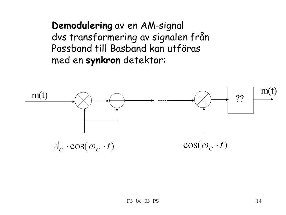 F3_be_03_PS14 Demodulering av en AM-signal dvs transformering av signalen från Passband till Basband kan utföras med en synkron detektor: m(t) .